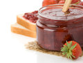 Strawberry jam on white Royalty Free Stock Photos