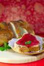 Strawberry jam on a white bread Royalty Free Stock Image
