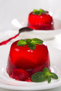Strawberry jelly decorated with mint Royalty Free Stock Photo