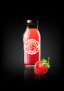Strawberry juice in a glass bottle for design advertisement and vintage logo, fruit, transparent, Vector Royalty Free Stock Photo