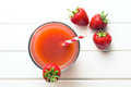 Strawberry juice in glass Royalty Free Stock Photo