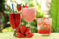 Strawberry juice soda and smoothie refreshment for drink Stock Photos