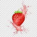 Strawberry juice splash and realistic fresh fruit. Royalty Free Stock Photo