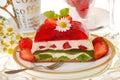 Strawberry and kiwi jelly cake Royalty Free Stock Photo