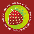 Strawberry label abstract on a red background Royalty Free Stock Photos