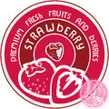Strawberry label vector sign Royalty Free Stock Photography