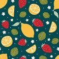 Strawberry and lemon seamless pattern on dark green. Vector illustration