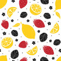 Strawberry and lemon seamless pattern isolated on white background. Vector illustration