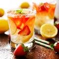 Strawberry lemonade with mint garnish Royalty Free Stock Photo