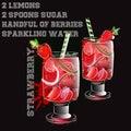 Strawberry lemonade with ricepe watercolor splash Royalty Free Stock Photo