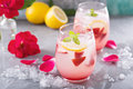 Strawberry lemonade with rose water Royalty Free Stock Photo