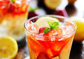 Strawberry lemonade shot close up with selective focus Royalty Free Stock Photography