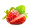 Strawberry macro isolated on white Stock Photos