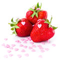 Strawberry macro isolated on white background closeup clean Stock Photo
