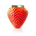 Strawberry macro like jam jar isolated on white Royalty Free Stock Image
