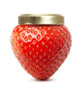 Strawberry macro like jam jar isolated on white Stock Image