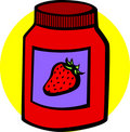 Strawberry marmalade jar vector illustration Stock Photos
