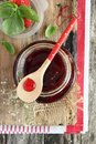 Strawberry marmalade portion fresh homemade with basil Royalty Free Stock Images