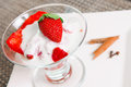 Strawberry with milk cream Royalty Free Stock Photo