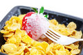 Strawberry,milk,fork and flakes Royalty Free Stock Image
