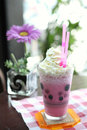 Strawberry milk shake in close up Royalty Free Stock Photography
