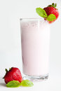 Strawberry milkshake fresh cool milk cocktail for all Royalty Free Stock Photo