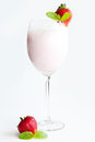 Strawberry milkshake fresh cool milk cocktail for all Stock Photography