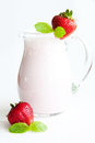 Strawberry milkshake fresh cool milk cocktail for all Royalty Free Stock Images