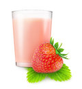 Strawberry milkshake glass of isolated on white background with clipping path Royalty Free Stock Photography