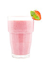 Strawberry milkshake glass of on white Royalty Free Stock Photo