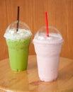 Strawberry milkshake and iced green tea Royalty Free Stock Photo