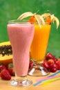 Strawberry Milkshake and Papaya Juice Royalty Free Stock Photos