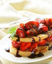 Strawberry millefeuille with chocolate sauce Royalty Free Stock Photography