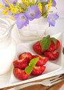 Strawberry with a mint and milk Royalty Free Stock Images