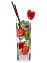 Strawberry mojito cocktail in tall glass isolated on white background Royalty Free Stock Photo