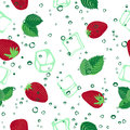 Strawberry mojito seamless vector pattern on white background. Royalty Free Stock Photo