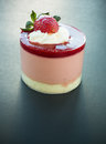 Strawberry mousse one on black background Stock Photography