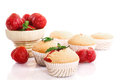 Strawberry muffins sweet with strawberries on a white background Royalty Free Stock Images