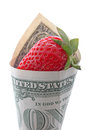 Strawberry in one dollar wrapped banknote Stock Photos