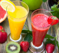 Strawberry and orange juice Royalty Free Stock Photo