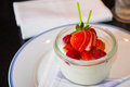 Strawberry pannacotta home made dessert Royalty Free Stock Image