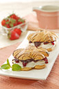 Strawberry pastry delicious with peanut toping Stock Photography