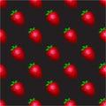 Strawberry pattern on a black background. Royalty Free Stock Photo