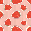 Strawberry pattern. Seamless texture with ripe red strawberry Royalty Free Stock Photo