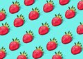 Strawberry Pattern of strawberrys on pastel colored background stwawberry full and sliced place on background wallpaper pattern Royalty Free Stock Photo