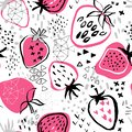 Strawberry pattern on white background and abstract background.