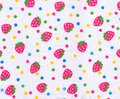 Strawberry pattern on white fabric Stock Photo