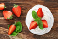 Strawberry Pavlova dessert Royalty Free Stock Photo