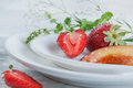 Strawberry and peach with mint Royalty Free Stock Photo
