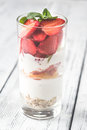 Strawberry and peach parfait Royalty Free Stock Photo
